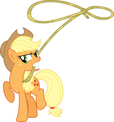 Size: 9976x10671   Tagged: safe, artist:djdavid98, artist:uxyd, applejack, pony, the super speedy cider squeezy 6000, .ai available, absurd resolution, female, lasso, simple background, solo, transparent background, vector