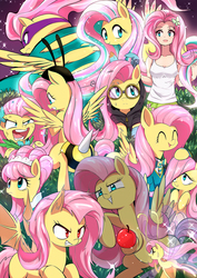 Size: 1600x2260 | Tagged: safe, artist:caibaoreturn, fluttershy, saddle rager, breezie, human, pegasus, pony, equestria girls, animal costume, bee costume, bowtie, breeziefied, bunny ears, clothes, costume, dangerous mission outfit, discorded, dress, equestria girls outfit, eyes closed, female, filly, flutterbat, flutterbee, flutterbitch, flutterbreez, flutterrage, gala dress, goggles, hoodie, human ponidox, humanized, mare, modelshy, multeity, open mouth, pixiv, ponytones outfit, rainbow power, self ponidox, smiling, so much flutter, species swap, tanktop