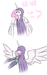 Size: 1434x2261 | Tagged: safe, artist:nobody, princess celestia, oc, oc:anon, human, ..., :t, clothes, cute, cutelestia, dialogue, female, funny, hoodie, horn impalement, offscreen character, open mouth, pink-mane celestia, simple background, sitting, smiling, spread wings, white background