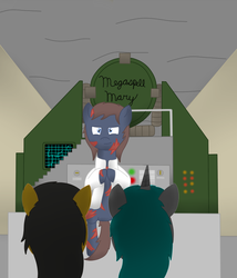 Size: 689x806 | Tagged: safe, artist:minty candy, cyborg, earth pony, ghoul, pegasus, pony, unicorn, fallout equestria, fallout equestria: occupational hazards, cannon, clothes, doomsday weapon, lab coat, megaspell, nuclear weapon, story