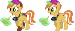 Size: 1839x765   Tagged: safe, artist:cheezedoodle96, oc, oc only, oc:paige turner, pony, unicorn, equestria daily, .svg available, camera, female, flat cap, hat, magic, mascot, notepad, pencil, simple background, solo, svg, transparent background, vector