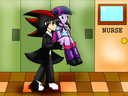 Size: 1256x940 | Tagged: safe, artist:soul-yagami64, twilight sparkle, human, equestria girls, crossover, equestria girls-ified, humanized, request, shadow the hedgehog, sonic the hedgehog (series)