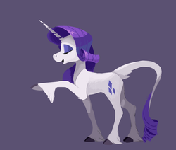 Size: 1059x897 | Tagged: safe, artist:enma-darei, rarity, classical unicorn, pony, unicorn, cloven hooves, eyes closed, eyeshadow, female, gray background, hoof fluff, leg fluff, leonine tail, makeup, mare, open mouth, raised hoof, simple background, smiling, solo, tail fluff, unshorn fetlocks