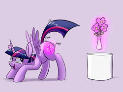 Size: 1024x768 | Tagged: alicorn, artist:underpable, butt shake, cutie mark magic, derpin daily, face down ass up, female, flower, levitation, literal, looking back, magic, mare, open mouth, plot, pony, pun, safe, smiling, solo, spread wings, telekinesis, twibutt, twilight sparkle, twilight sparkle (alicorn), visual pun, wat, wiggle