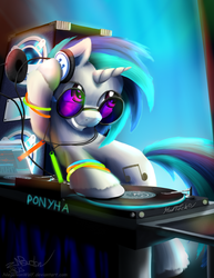 Size: 1280x1656 | Tagged: safe, artist:niegelvonwolf, dj pon-3, vinyl scratch, pony, unicorn, colored hooves, cutie mark, female, glowstick, headphones, hooves, horn, mare, mixing console, record, smiling, solo, sunglasses, teeth, text, turntable