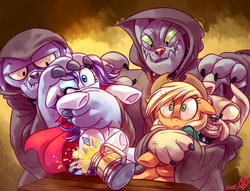 Size: 1475x1125 | Tagged: safe, artist:whitediamonds, applejack, fido, rarity, rover, spot, diamond dog, cider, cloak, clothes, female, kidnapped, lesbian, rarijack, rarijack daily, shipping, this will end in tears, underhoof