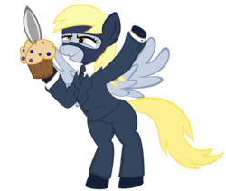 Size: 700x590 | Tagged: safe, artist:stylus, derpy hooves, pegasus, pony, clothes, derpy spy, female, knife, mare, mask, muffin, muffin knife, necktie, simple background, solo, spy, suit, team fortress 2, transparent background, tumblr, vector