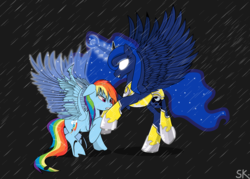 Size: 1664x1189 | Tagged: armor, artist:dsana, damaged wings, female, floppy ears, glowing eyes, injured wing, lesbian, lunadash, magic, princess luna, rain, rainbow dash, safe, shipping, spoiler:comic, spoiler:comic06, spread wings, wet mane