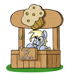 Size: 1400x1500 | Tagged: safe, artist:ramott, derpy hooves, pegasus, pony, female, kiosk, mare, muffin, simple background, solo, that pony sure does love muffins, transparent background