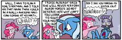 Size: 700x229   Tagged: safe, artist:foudubulbe, maud pie, pinkie pie, trixie, pony, unicorn, comic:damp rocks, comic, crying, dialogue, female, floppy ears, glare, lesbian, mare, mauxie, open mouth, shipping, speech bubble, wide eyes, yelling