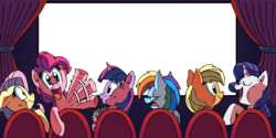 Size: 3351x1672   Tagged: safe, artist:fritzybeat, artist:ziggyfin, applejack, fluttershy, pinkie pie, rainbow dash, rarity, twilight sparkle, breaking the fourth wall, cinema, exploitable, looking at you, mane six, popcorn, pumbaa, simple background, template, theater, timon, transparent background, waving