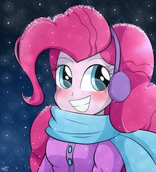 Size: 960x1056 | Tagged: safe, artist:riouku, pinkie pie, human, equestria girls, clothes, coat, cute, diapinkes, earmuffs, female, humanized, scarf, snow, snowfall, solo, winter