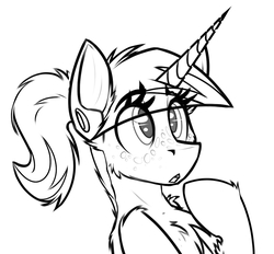 Size: 1060x985 | Tagged: safe, artist:ralek, oc, oc only, oc:swift note, pony, unicorn, fallout equestria, :o, chest fluff, curiosity, cute, diaries of a sniperpony, freckles, innocent, monochrome, open mouth, ponytail, solo