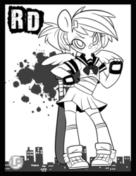 Size: 800x1035 | Tagged: alternate hairstyle, anthro, artist:lolopan, bandage, barrette, baseball bat, blood spray, clothes, fingerless gloves, gloves, midriff, miniskirt, monochrome, pleated skirt, ponytail, rainbow dash, safe, school uniform, skirt, sneakers, socks, solo, tomboy, zettai ryouiki