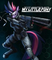 Size: 1023x1163 | Tagged: safe, artist:murskme, twilight sparkle, anthro, unguligrade anthro, badass, crossover, female, future twilight, heckler and koch, konami, metal gear, metal gear solid, mk.23 mod 0, mk23, parody, solid snake, solid sparkle, solo, suppressor, video game reference