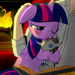 Size: 1500x1500 | Tagged: safe, artist:ponyecho, smarty pants, twilight sparkle, alicorn, human, pony, blushing, book, cuddling, cute, daaaaaaaaaaaw, ear scratch, female, fire, fireplace, floppy ears, hnnng, holding a pony, hug, human on pony snuggling, mare, petting, plushie, pony pet, ponyecho is trying to murder us, reading, scratching, show accurate, sleeping, smiling, snuggling, solo, twiabetes, twilight sparkle (alicorn), twilove, weapons-grade cute, wink