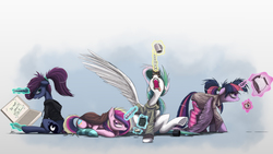 Size: 2500x1407 | Tagged: safe, artist:ncmares, princess cadance, princess celestia, princess luna, twilight sparkle, alicorn, pony, ask majesty incarnate, luna-afterdark, alicorn tetrarchy, alternate hairstyle, angry, annoyed, bags under eyes, bed mane, blanket, clothes, coffee, donut, female, floppy ears, frown, glare, gritted teeth, grumpy, hoodie, imminent murder, looking back, lying down, magic, majestic as fuck, mare, morning ponies, open mouth, prone, royal sisters, scrunchy face, sitting, socks, spread wings, striped socks, telekinesis, tired, twilight sparkle (alicorn)