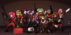 Size: 1280x640 | Tagged: applejack, artist:lumineko, canon x oc, crossover, demoman, engiejack, engineer, equestria girls, female, fluttermedic, fluttershy, glasses, gun, handgun, heavy, machine gun, male, medic, oc, oc:rally flag, optical sight, parody, pinkie pie, pinkie pyro, pistol, princess celestia, princess luna, principal celestia, pyro, rainbow dash, rainbow scout, rallydash, rallylestia, rallyluna, rarispy, rarity, rifle, safe, scout, shipping, smiling, sniper, sniper rifle, soldier, spy, straight, sunglasses, sunset shimmer, team fortress 2, teeth, vice principal luna, weapon