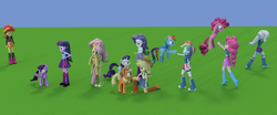 Size: 2018x842 | Tagged: safe, artist:3d thread, artist:creatorofpony, applejack, fluttershy, pinkie pie, rainbow dash, rarity, sunset shimmer, trixie, twilight sparkle, equestria girls, /mlp/, 3d, 3d model, balloon, blender, boots, bracelet, clothes, compression shorts, high heel boots, human ponidox, humane seven, humane six, jacket, jewelry, lonely, mane six, sad, shirt, shorts, skirt, sunsad shimmer, sweater, tanktop, twilight sparkle (alicorn)
