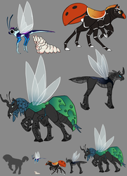 Size: 800x1107 | Tagged: alternate design, artist:basiliskfree, breezie, changeling, changeling queen, concept, concept art, gray background, grub, insect, insectoid, monster pony, original species, queen chrysalis, safe, simple background, spiderpony