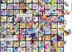 Size: 1276x923 | Tagged: safe, all aboard, aloe, apple bloom, applejack, aunt orange, babs seed, berry punch, berryshine, big macintosh, blossomforth, blues, bon bon, braeburn, bulk biceps, carrot cake, carrot top, cheerilee, cheese sandwich, cherry berry, cherry jubilee, chickadee, cranky doodle donkey, cup cake, daring do, diamond tiara, discord, doctor whooves, donut joe, featherweight, flam, flash sentry, fleetfoot, fleur-de-lis, flim, flitter, fluttershy, gilda, golden harvest, granny smith, hoity toity, iron will, jesus pezuna, king sombra, lightning dust, lily, lily valley, little strongheart, lord tirek, lotus blossom, lyra heartstrings, lyrica lilac, maud pie, mayor mare, minuette, ms. harshwhinny, ms. peachbottom, noteworthy, nurse coldheart, nurse redheart, nurse snowheart, octavia melody, philomena, photo finish, pinkie pie, pipsqueak, princess cadance, princess celestia, princess luna, queen chrysalis, rainbow dash, rarity, roseluck, rover, rumble, scootaloo, shining armor, silver spoon, snails, snips, soarin', spike, spitfire, steven magnet, suri polomare, sweetie belle, sweetie drops, thunderlane, time turner, trixie, twilight sparkle, twilight velvet, twist, zecora, alicorn, bat pony, buffalo, diamond dog, donkey, earth pony, griffon, minotaur, pegasus, pony, unicorn, zebra, derpibooru, cutie mark crusaders, desktop ponies, everypony, mane seven, mane six, meta, royal guard, twilight sparkle (alicorn), wall of tags