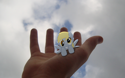 Size: 1920x1200 | Tagged: safe, artist:bryal, derpy hooves, pegasus, pony, female, hand, irl, mare, photo, ponies in real life, tiny ponies