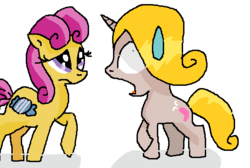 Size: 553x372   Tagged: artist needed, source needed, safe, alternate version, bon bon (g1), oc, oc:angel, oc:angel the hairstylist pony, my little pony tales, alternate hairstyle, bon bon is not amused, g1, why