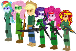Size: 1443x978 | Tagged: safe, artist:totallynotabronyfim, applejack, fluttershy, pinkie pie, rainbow dash, rarity, sunset shimmer, equestria girls, airsoft, aks-74u, boots, gun, humane five, humane six, m16, m4, m4a1, m60, mosin nagant, safety goggles, shooting for friendship, trigger discipline