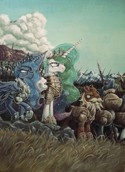 Size: 721x992   Tagged: safe, artist:graffegruam, princess celestia, princess luna, acrylic painting, armor, army, banner, helmet, medieval, royal guard, spear, traditional art, war, warrior celestia, warrior luna