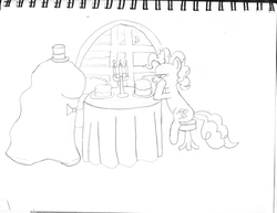 Size: 1650x1275 | Tagged: artist:saburodaimando, cake, candlelight, dating, make new friends but keep discord, pencil drawing, pinkie pie, safe, shipping, sitting, smooze, smoozepie, table, that was fast, traditional art