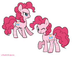 Size: 600x480 | Tagged: safe, artist:bartolomeus_, pinkie pie, earth pony, pony, clothes, cute, diapinkes, female, mare, profile, simple background, socks, solo, striped socks, white background, wink