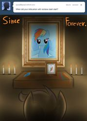 Size: 500x700   Tagged: artist needed, source needed, safe, rainbow dash, scootaloo, ask, candle, not creepy, shrine, stalkerloo, tumblr