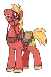 Size: 400x600 | Tagged: artist:kairean, big macintosh, bit, bridle, earth pony, male, open mouth, pony, reins, saddle, safe, solo, stallion, sweat, tack