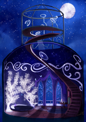Size: 3500x4960 | Tagged: artist:dalagar, concept, implied princess luna, moon, no pony, room, safe, stairs, tree