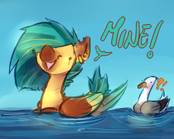 Size: 500x400 | Tagged: safe, artist:thelionmedal, oc, oc only, duck, duck pony, pegasus, pony, seagull, behaving like a bird, confused, derp, open mouth, pegaduck, smiling, solo