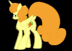 Size: 1063x751 | Tagged: safe, artist:oliverthepanda, artist:poldekpl, carrot top, golden harvest, alicorn, pony, alicornified, carrotcorn, looking back, race swap, solo