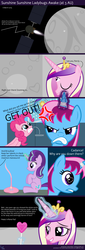 Size: 4096x12032 | Tagged: safe, artist:parclytaxel, pinkie pie, princess cadance, starlight glimmer, oc, oc:parcly taxel, alicorn, genie, pony, albumin flask, the cutie map, .svg available, absurd resolution, alicorn oc, angry, asteroid, bedroom eyes, bondage, bottle, comic, cutie mark, djinn, faic, flag, frown, geniefied, heart eyes, horn ring, lollipop, magic, no fun allowed, shiny, sitting, space, surreal, telekinesis, third eye, vector, wingding eyes