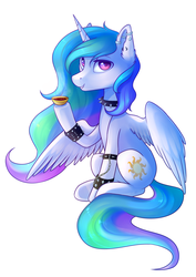 Size: 1024x1447 | Tagged: alicorn, artist:ghst-qn, choker, collar, cup, ear piercing, female, food, grin, hoof hold, looking at you, mare, piercing, pony, princess celestia, safe, simple background, sitting, smiling, solo, spiked choker, spiked wristband, tea, teacup, white background, wristband