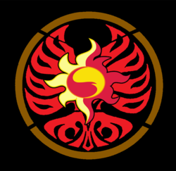 Size: 572x555 | Tagged: safe, artist:millennial dan, edit, sunset shimmer, my past is not today, core medal, crossover, cutie mark, kamen rider, kamen rider ooo, that was fast