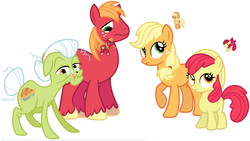 Size: 1280x720 | Tagged: apple bloom, apple family, applejack, apple siblings, april fools, artist:porygon2z, big macintosh, derpibooru, desktop ponies, earth pony, granny smith, hatless, male, meta, missing accessory, pixel art, pony, safe, stallion