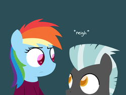 Size: 1280x960 | Tagged: safe, artist:dtcx97, rainbow dash, thunderlane, pegasus, pony, post-crusade, blue background, eye contact, female, frown, horse noises, horses doing horse things, male, mare, neigh, simple background, stallion