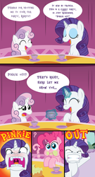 Size: 2550x4717 | Tagged: artist:t-3000, comic, edit, messy eating, pinkie pie, pun, rarity, red face, safe, sweetie belle, tea party, uvula