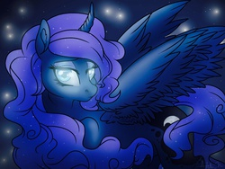Size: 1024x768 | Tagged: safe, artist:dewdrop-210, princess luna, alicorn, pony, curved horn, solo