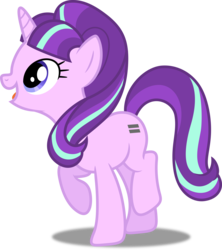 Size: 4438x5000   Tagged: safe, artist:dashiesparkle, starlight glimmer, pony, unicorn, the cutie map, .svg available, absurd resolution, cute, female, glimmerbetes, mare, open mouth, raised hoof, s5 starlight, simple background, smiling, solo, transparent background, vector, when she smiles