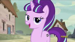 Size: 844x472 | Tagged: equal cutie mark, lidded eyes, safe, screencap, solo, starlight glimmer, the cutie map