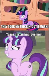 Size: 480x743 | Tagged: artist:sillyfillystudios, blank flank, caption, charlie the unicorn, golden oaks library, image macro, meme, roflbot, safe, starlight glimmer, text, the cutie map, twilight sparkle, twilight the unicorn