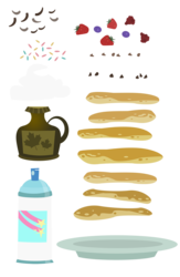 Size: 1024x1571 | Tagged: safe, artist:pixelkitties, castle sweet castle, blueberry, chocolate, food, pancakes, plate, raspberry (food), simple background, sprinkles, strawberry, syrup, transparent background, vector, whipped cream