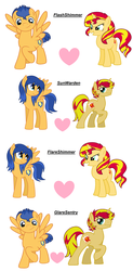Size: 3068x6244 | Tagged: safe, artist:t-mack56, flash sentry, sunset shimmer, pegasus, pony, unicorn, female, flare warden, flareglare, flareshimmer, flashimmer, gay, glaresentry, half r63 shipping, heart, lesbian, male, mare, raised hoof, rule 63, shipping, simple background, stallion, straight, sunset glare, white background