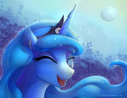 Size: 1600x1236   Tagged: dead source, safe, artist:viwrastupr, princess luna, cute, female, happy, lunabetes, moon, solo
