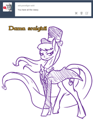 Size: 730x959 | Tagged: artist:la-classe-doctor, bitch i'm fabulous, clothes, doctavia, doctor whooves, hat, octavia melody, safe, time turner, top hat, tumblr